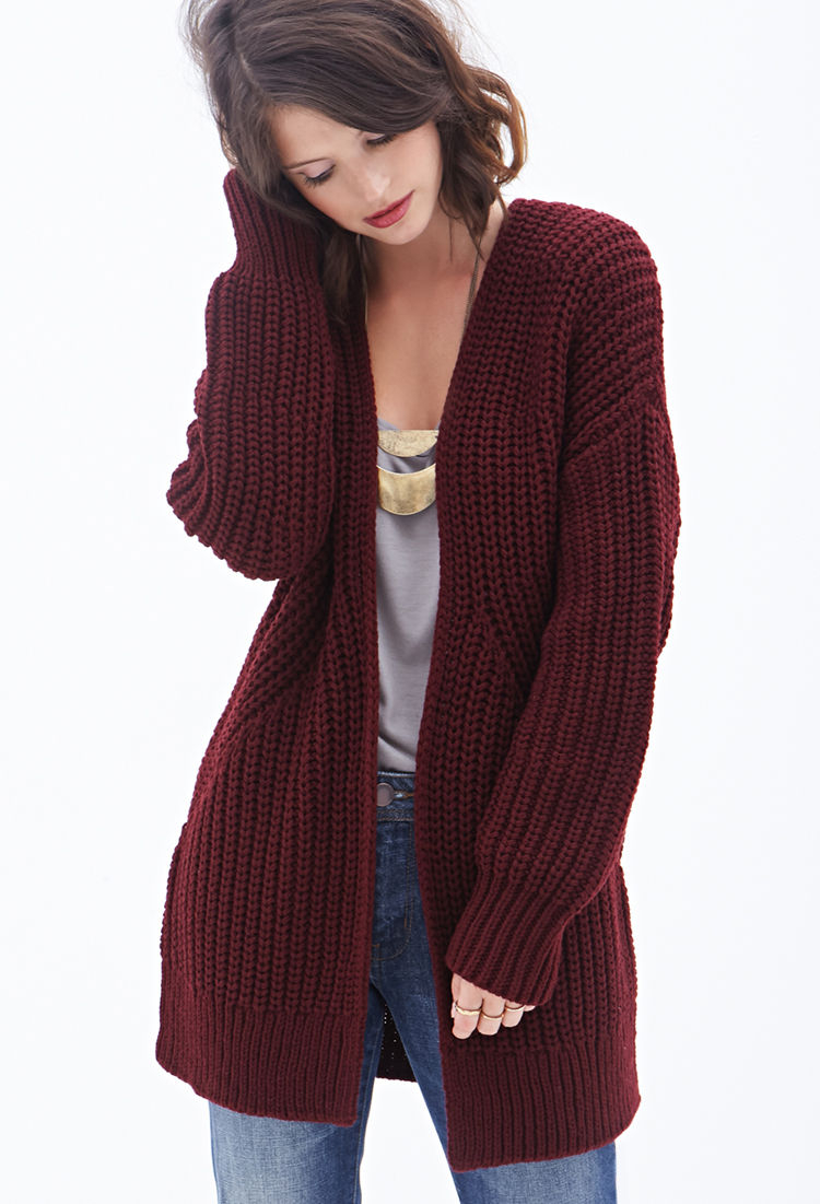 Forever 21 Contemporary Open-front Cardigan in Purple | Lyst