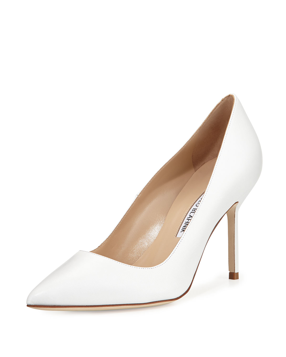 Manolo blahnik bb 90mm pump in white lyst for Shoes by manolo blahnik