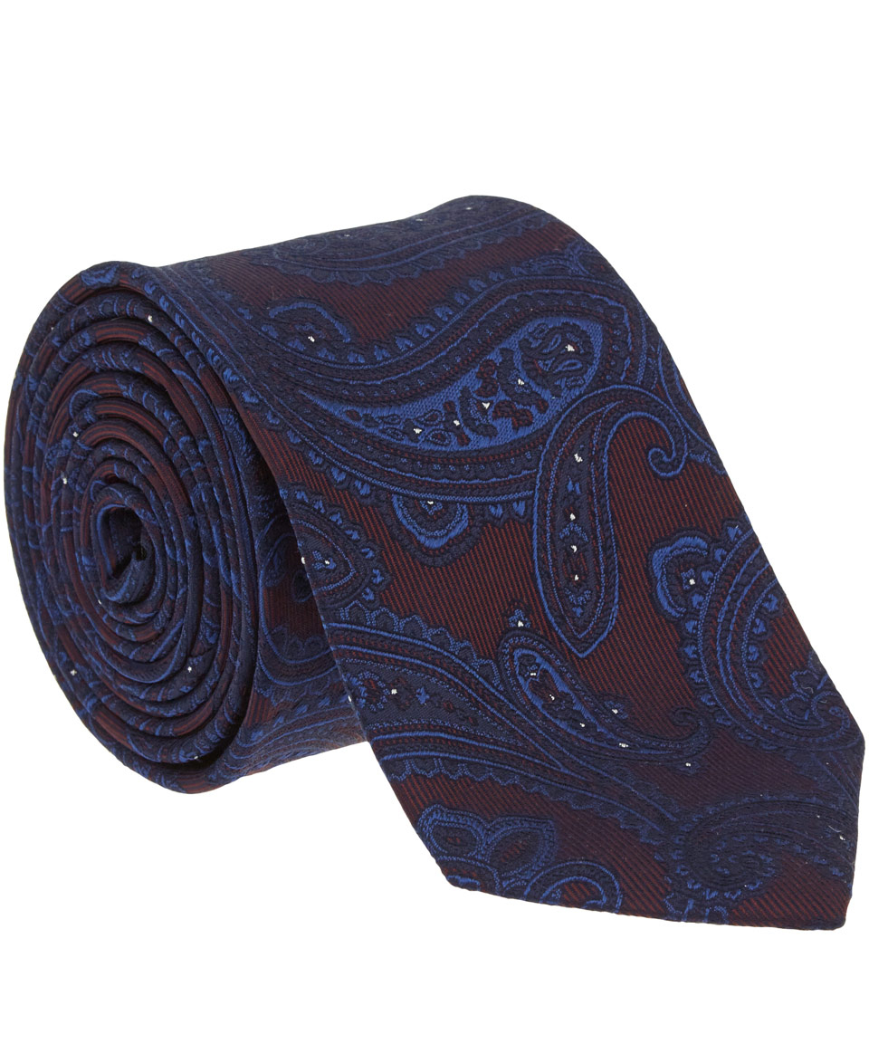 Simon Carter Burgundy Paisley Patterned Silk Tie In Blue