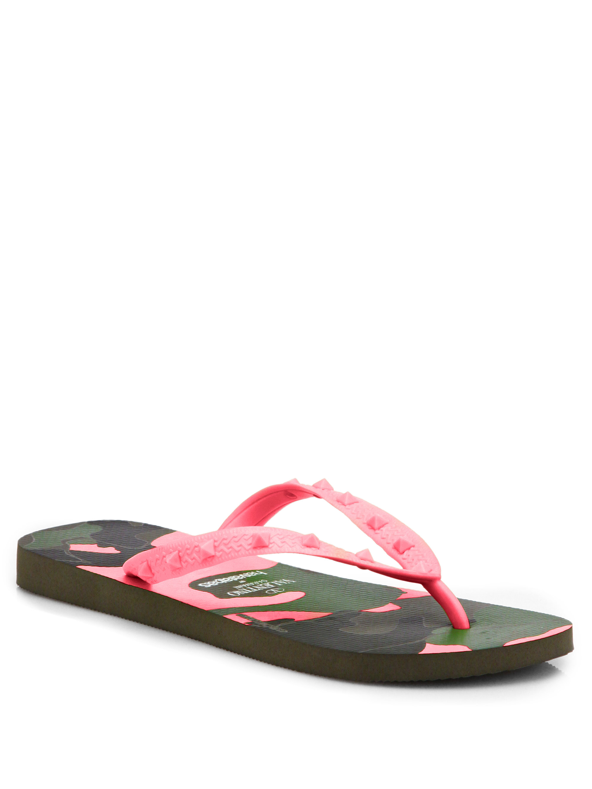 valentino studded flip flops in pink for men lyst. Black Bedroom Furniture Sets. Home Design Ideas