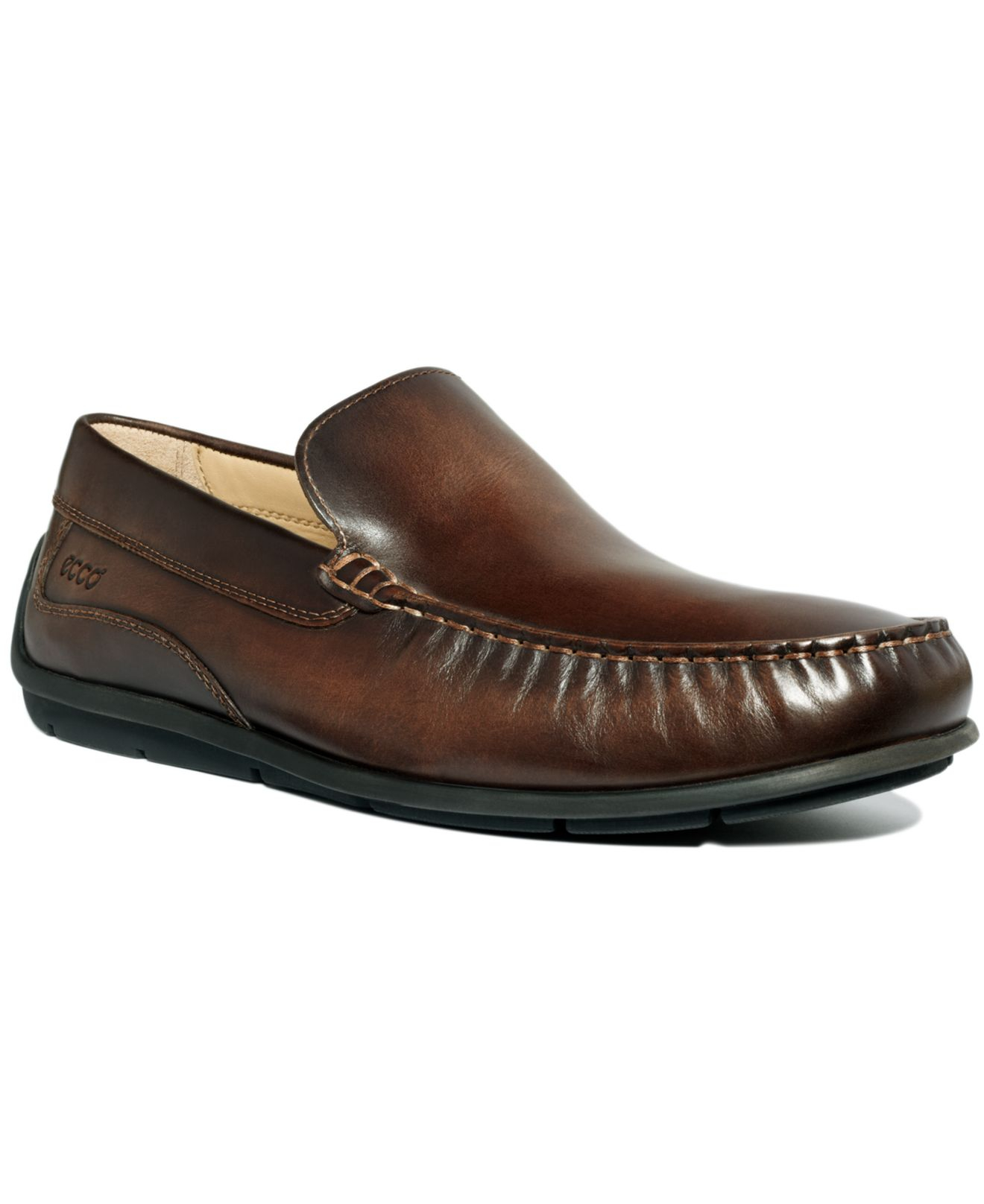 Vintage Land Rover Mens Loafer Driving Moccasin Brown: Ecco Men's Classic Driving Moccasins In Brown For Men
