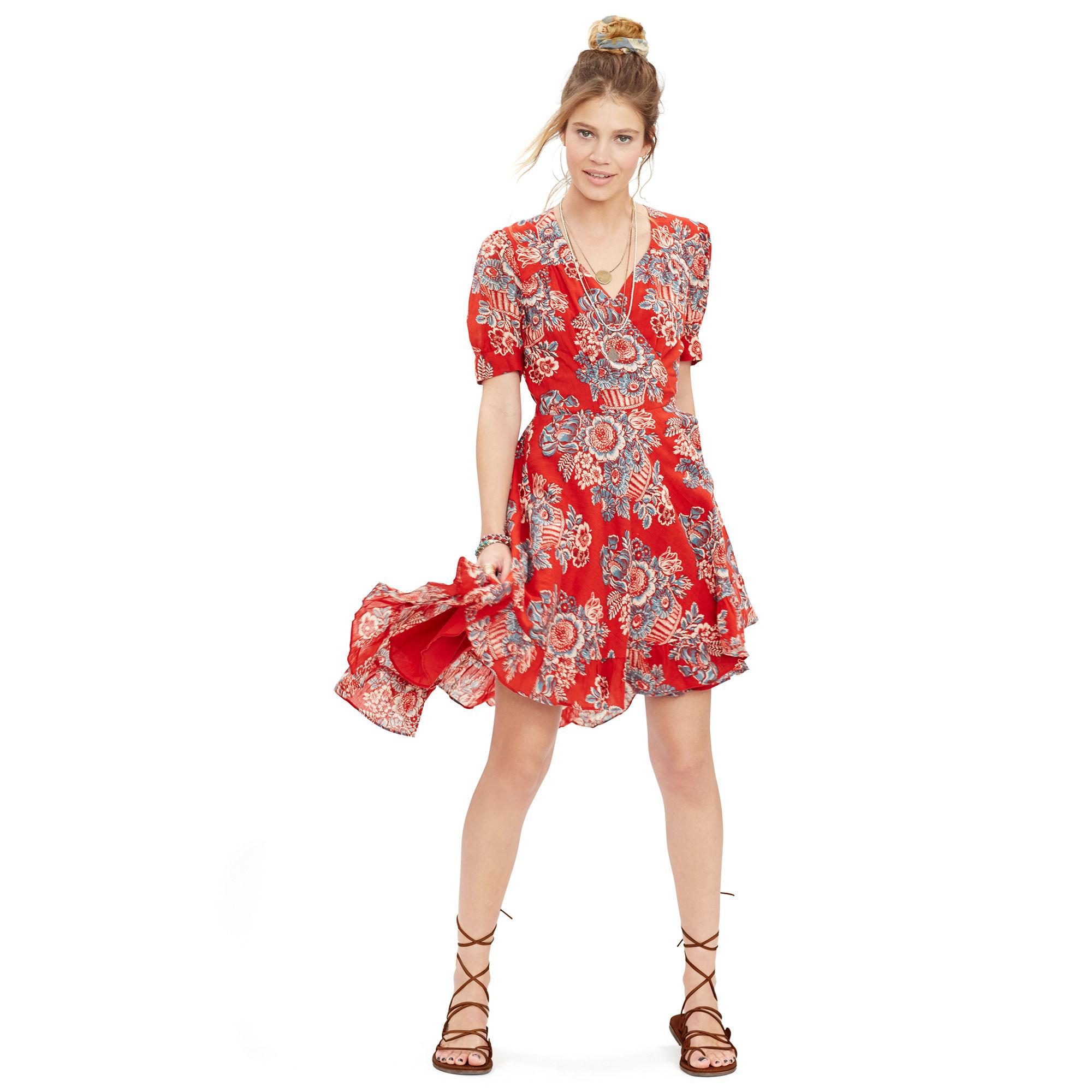 Denim Amp Supply Ralph Lauren Floral Print Gauze Wrap Dress