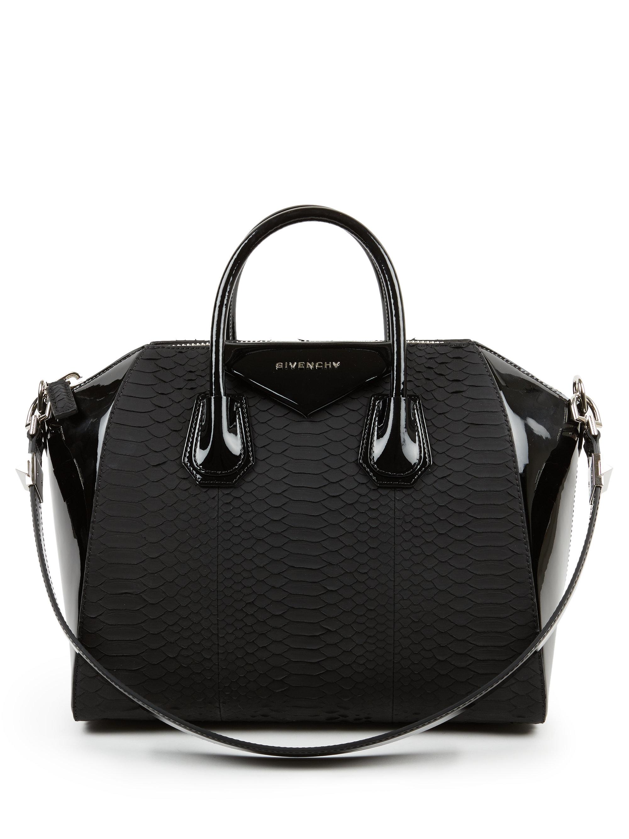 141cae330cba Lyst - Givenchy Antigona Medium Python   Patent Leather Satchel in Black