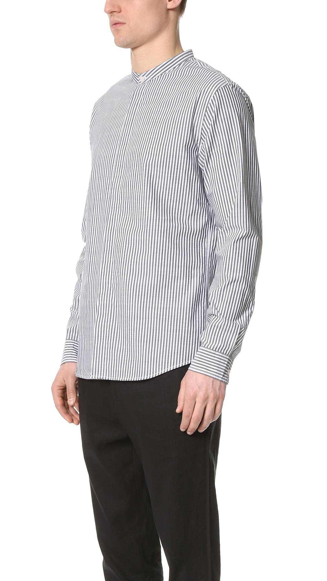 Lyst Vince Bar Stripe Banded Collar Shirt In Black For Men
