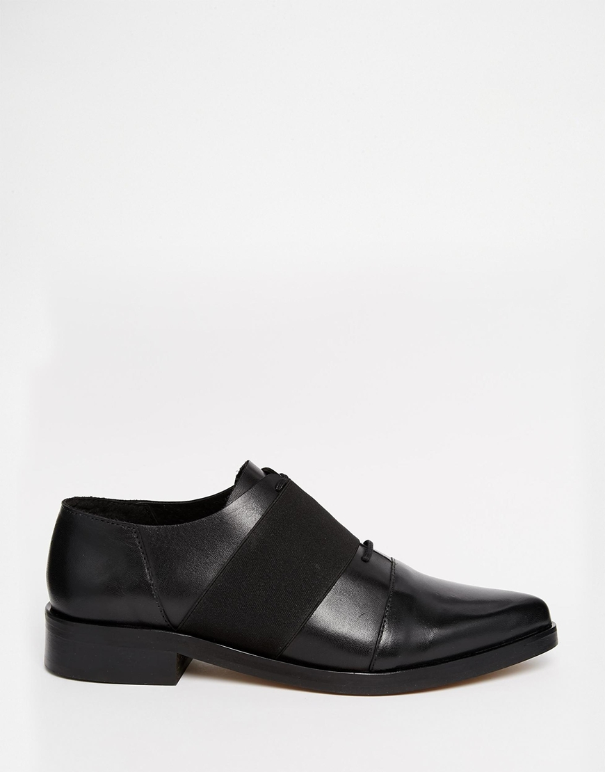 Lyst Selected Femme Elin Black Leather Flat Shoes In Black