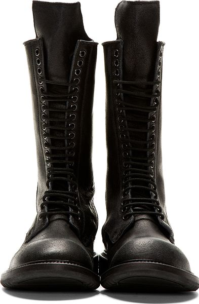 Rick Owens Black Leather Zipped Miltiary Boots In Black
