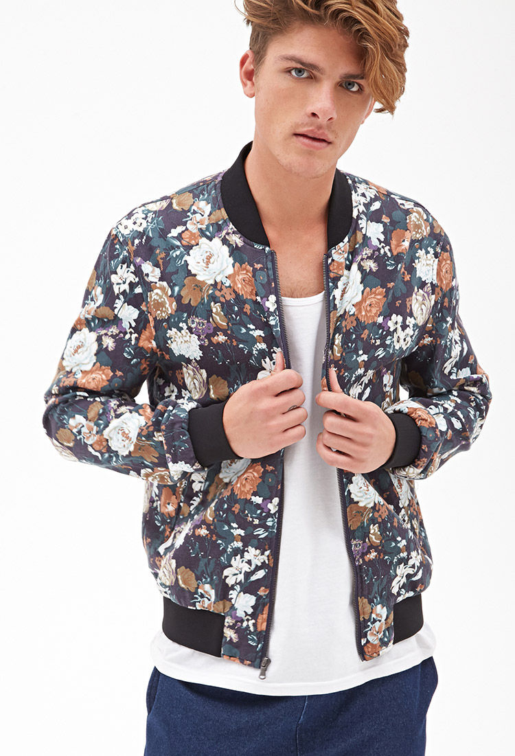 Floral Bomber Jacket Mens - JacketIn