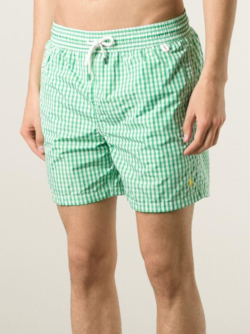 b0f24a6aae7fd ... norway ebay lyst polo ralph lauren gingham check swim shorts in green  for men 06b85 a724f