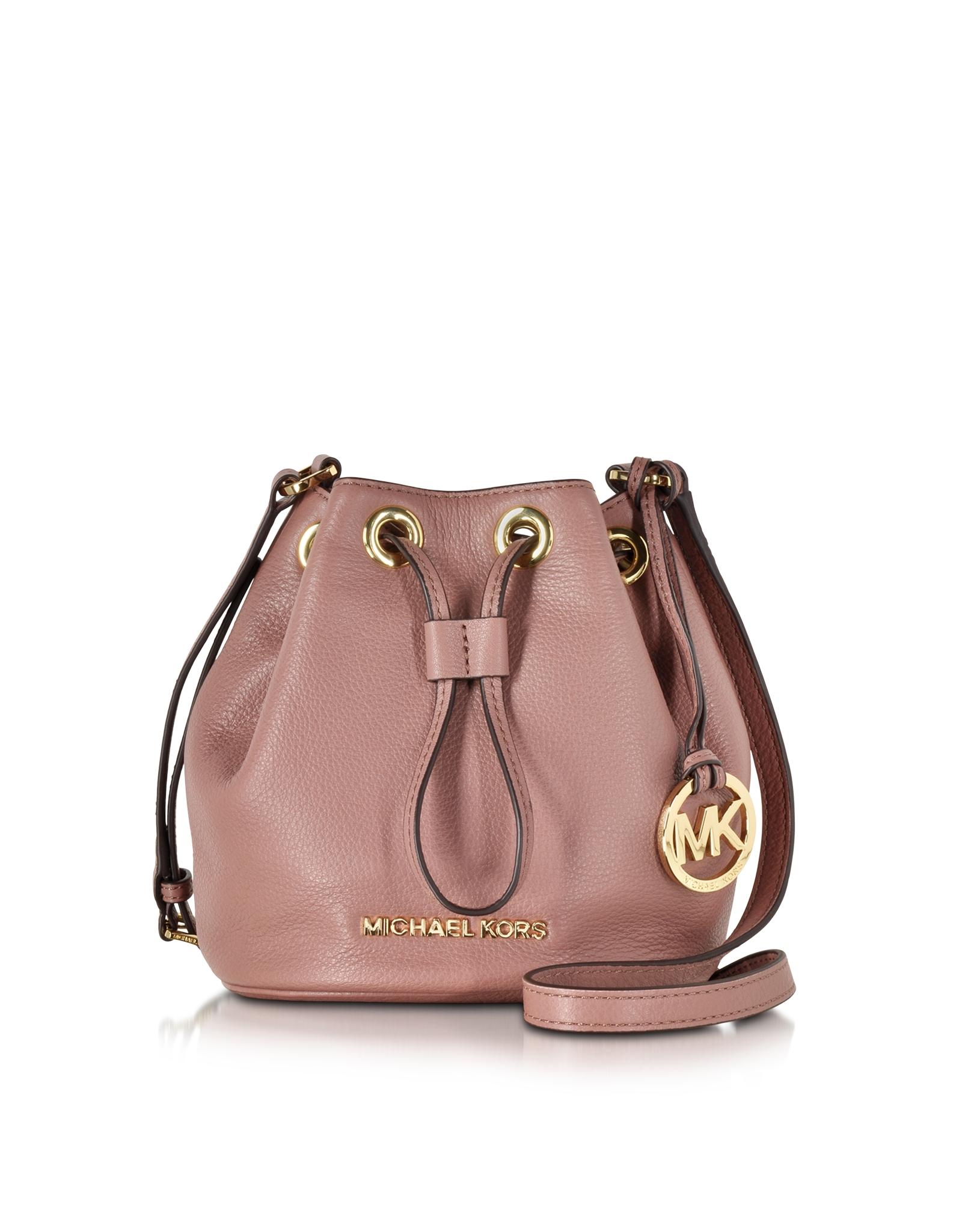 michael kors jules soft leather drawstring crossbody bag in pink lyst rh lyst com au