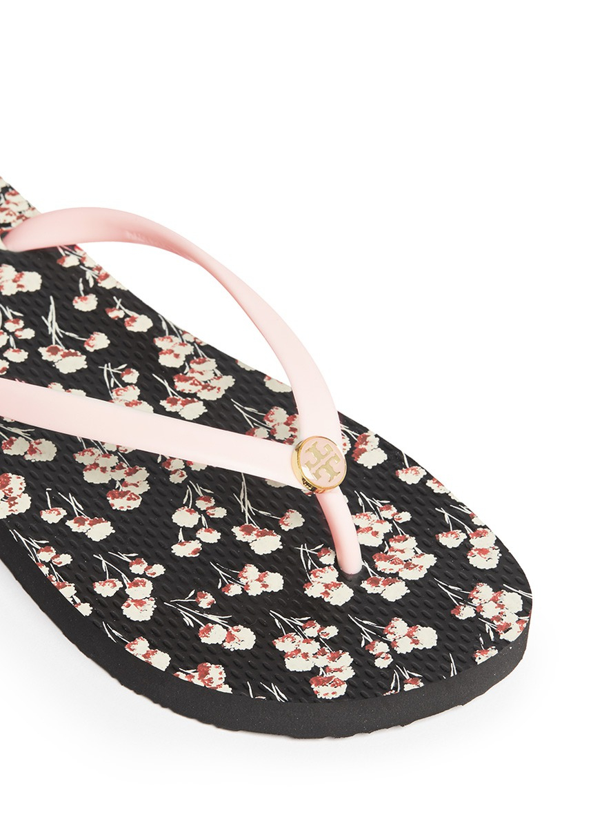 Tory Burch Thin Floral Print Flip Flops In Pink - Lyst-8312