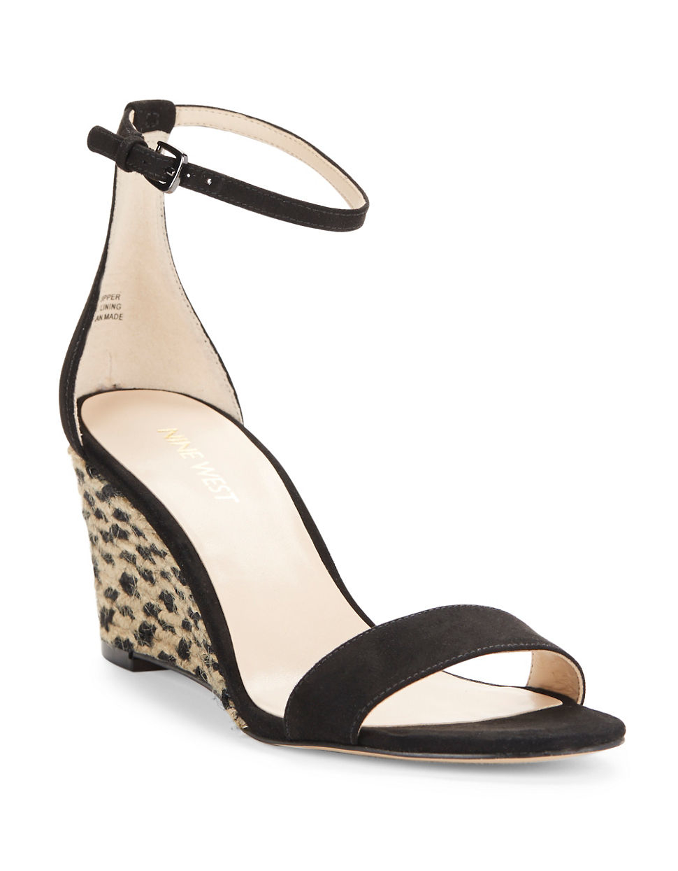 8ba2698b14 Nine West Nice To See You Wedge Sandals in Black - Lyst