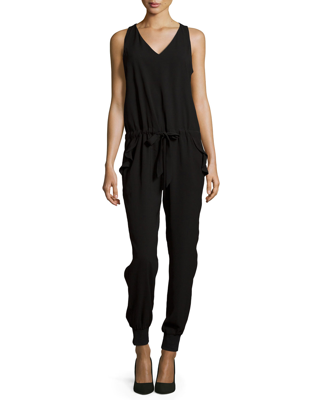 f6c53c8c9de2 Lyst - Greylin V-neck Drawstring Sleeveless Jumpsuit in Black