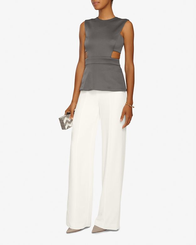 Narciso rodriguez Wide-leg High Waisted Crepe Pants in White | Lyst