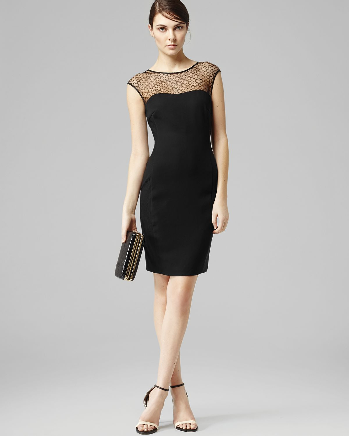Black Illusion Dress: Honeycomb Illusion Neckline Fitted In