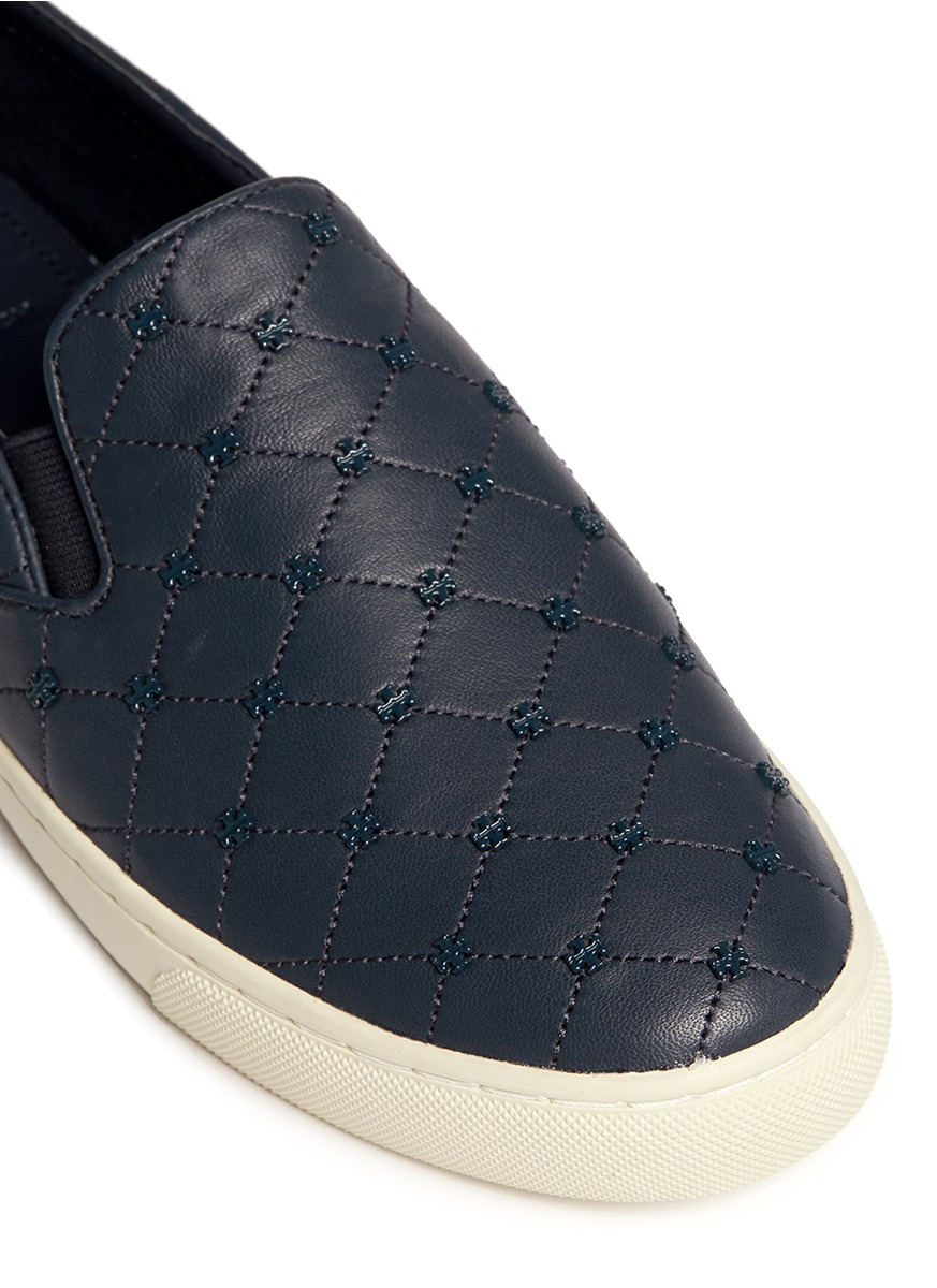 Tory burch Logo Stud Quilted Leather Skate Slip-ons in ...