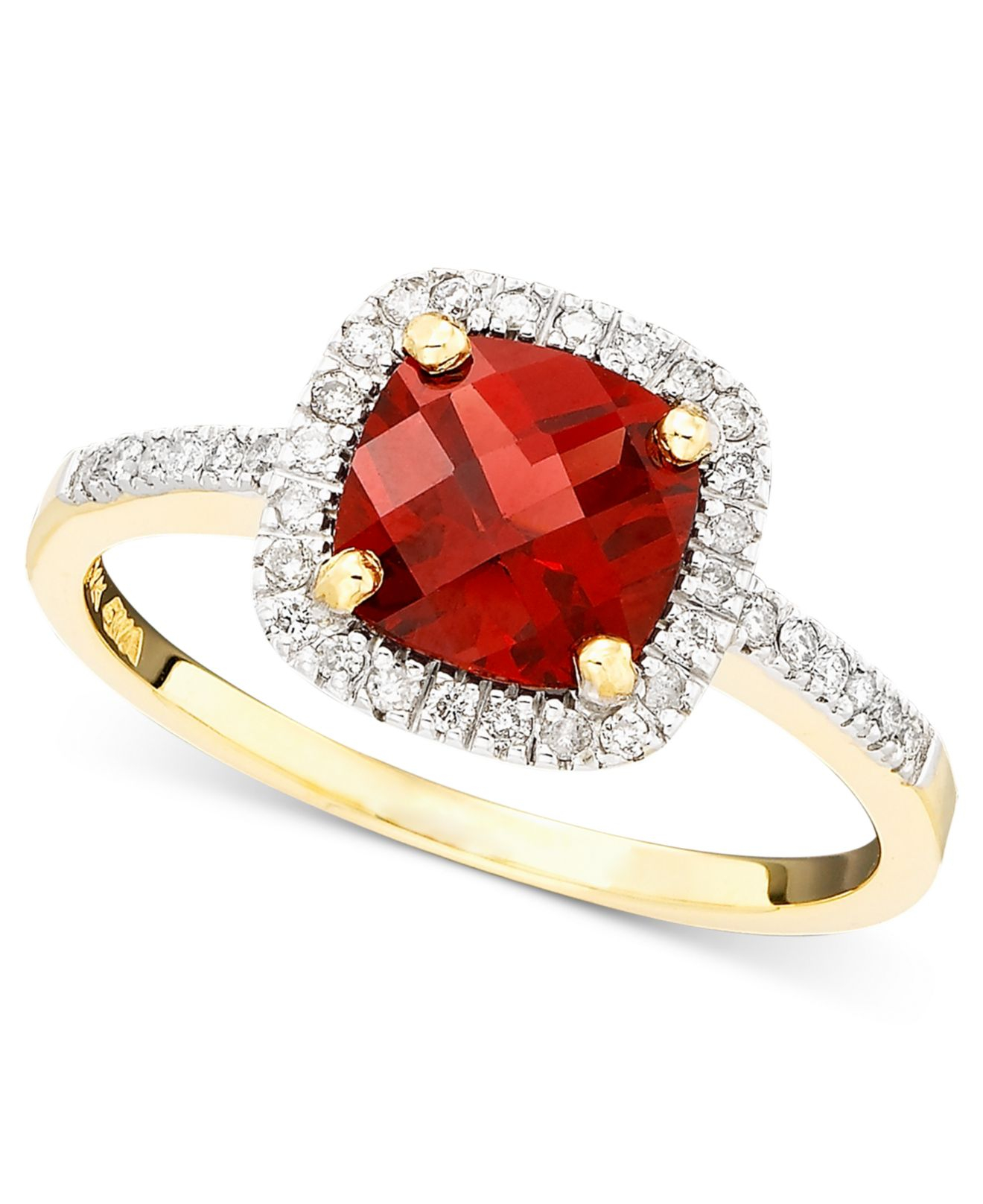 Macy s Garnet 1 1 6 Ct T w And Diamond 1 6 Ct Tw Ring In 10k Gold