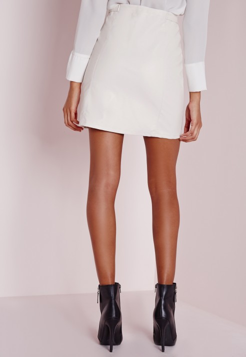 Missguided Faux Leather Buckle Zip A Line Skirt White in White | Lyst