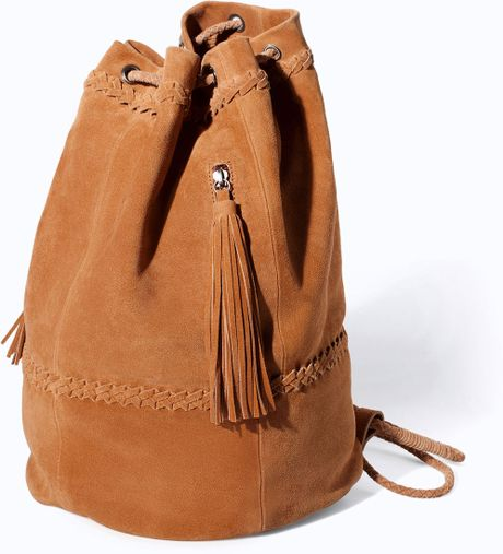 Zara Combined Leather And Suede Bucket Bag In Brown