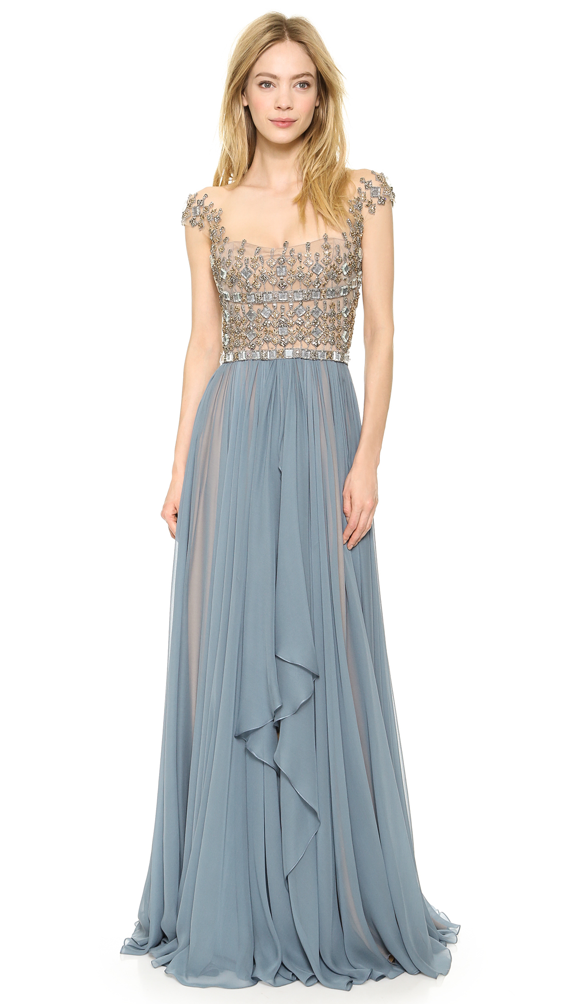 Reem Acra Embroidered Illusion Drop Shoulder Gown Blue