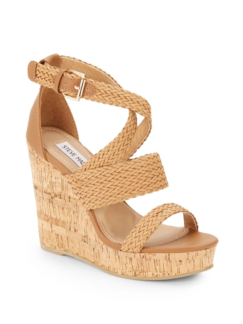 a5d9df86add Lyst - Steve Madden Slippie Braided-Pleather Wedge Sandals in Brown