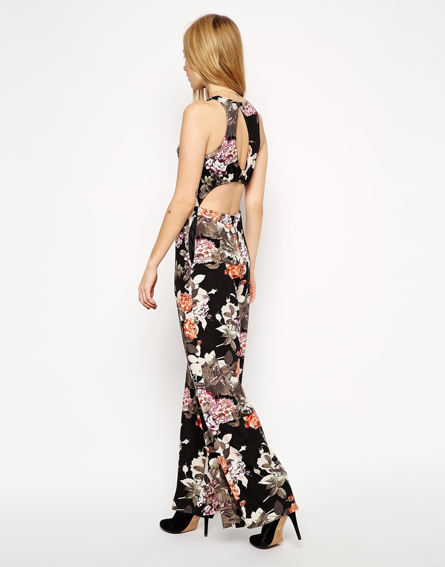 01f46524148a Lyst - Asos Wide Leg Jumpsuit In Floral Print With Cut Out