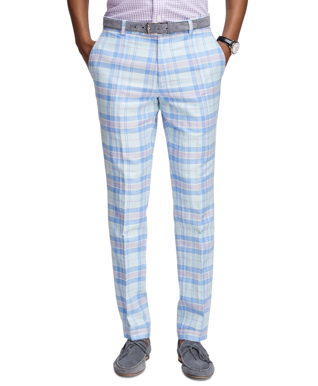 Brooks brothers Milano Fit Plaid Pants in Blue for Men | Lyst