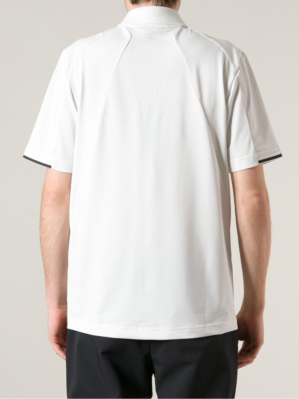 lyst porsche design branded jersey polo shirt in white. Black Bedroom Furniture Sets. Home Design Ideas