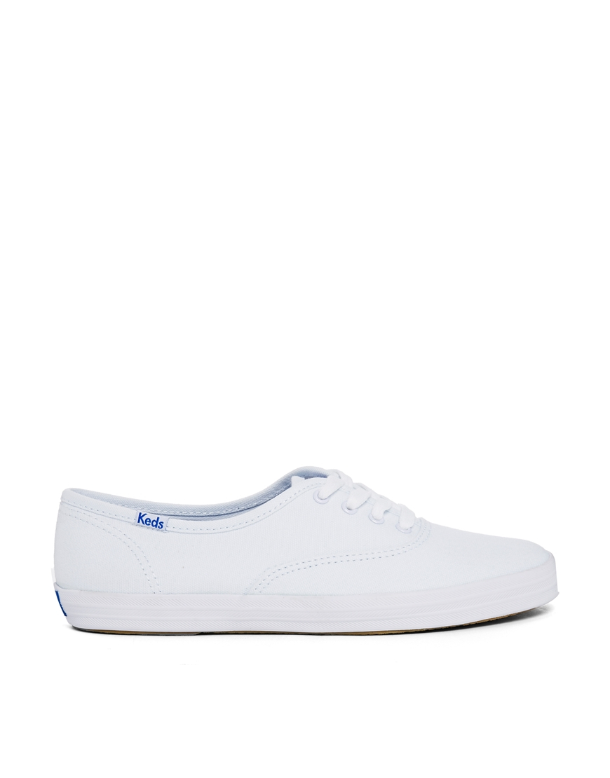 keds chion canvas white plimsoll trainers in white lyst