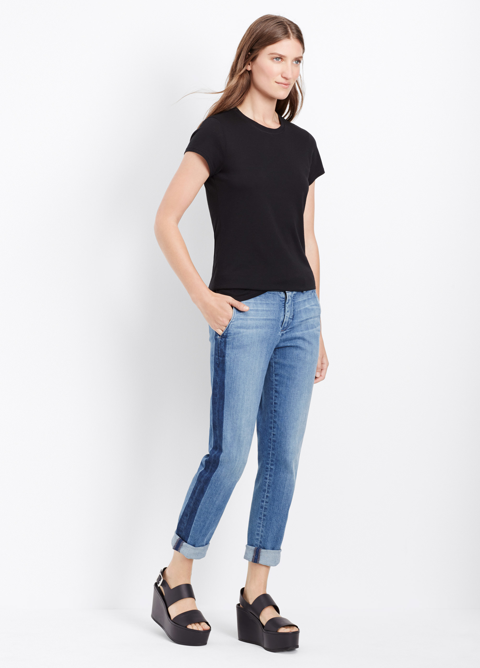 Lyst Vince Denim Side Strapping Pant In Blue