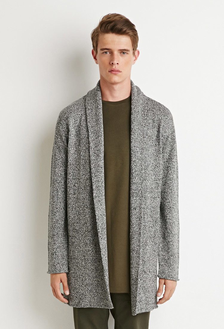 Forever 21 Marled Longline Shawl Cardigan in Black for Men | Lyst