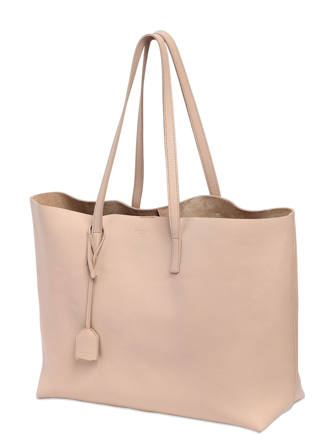 Lyst - Saint Laurent Soft Leather Tote Bag in Natural