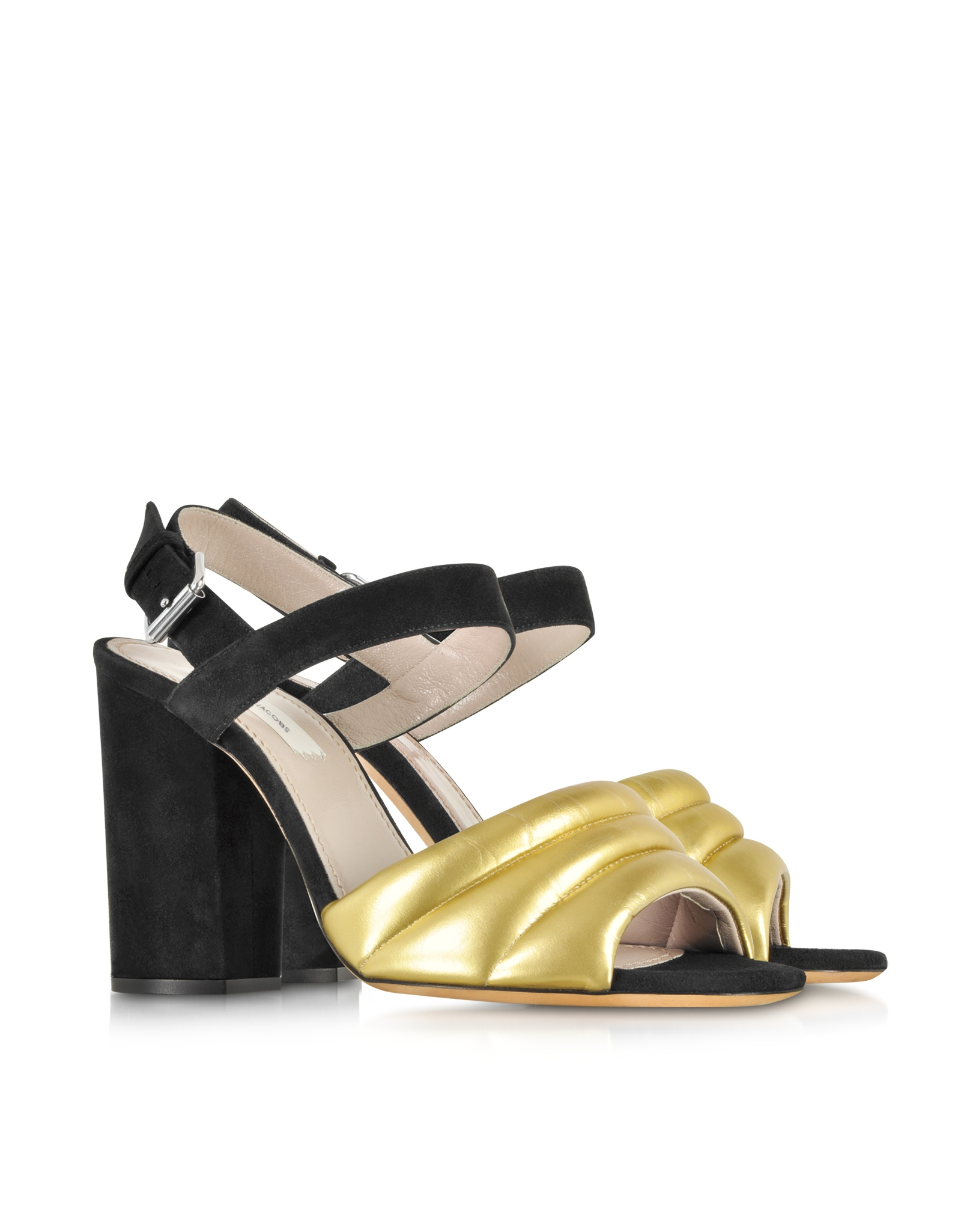 marc black and gold leather high heel sandal in