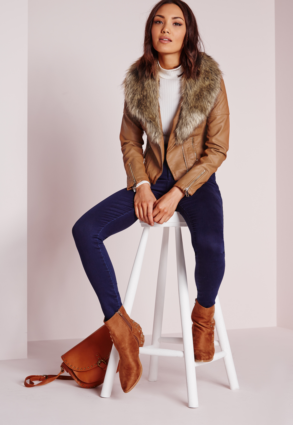 Lyst Missguided Faux Leather Biker Jacket With Faux Fur Collar Tan