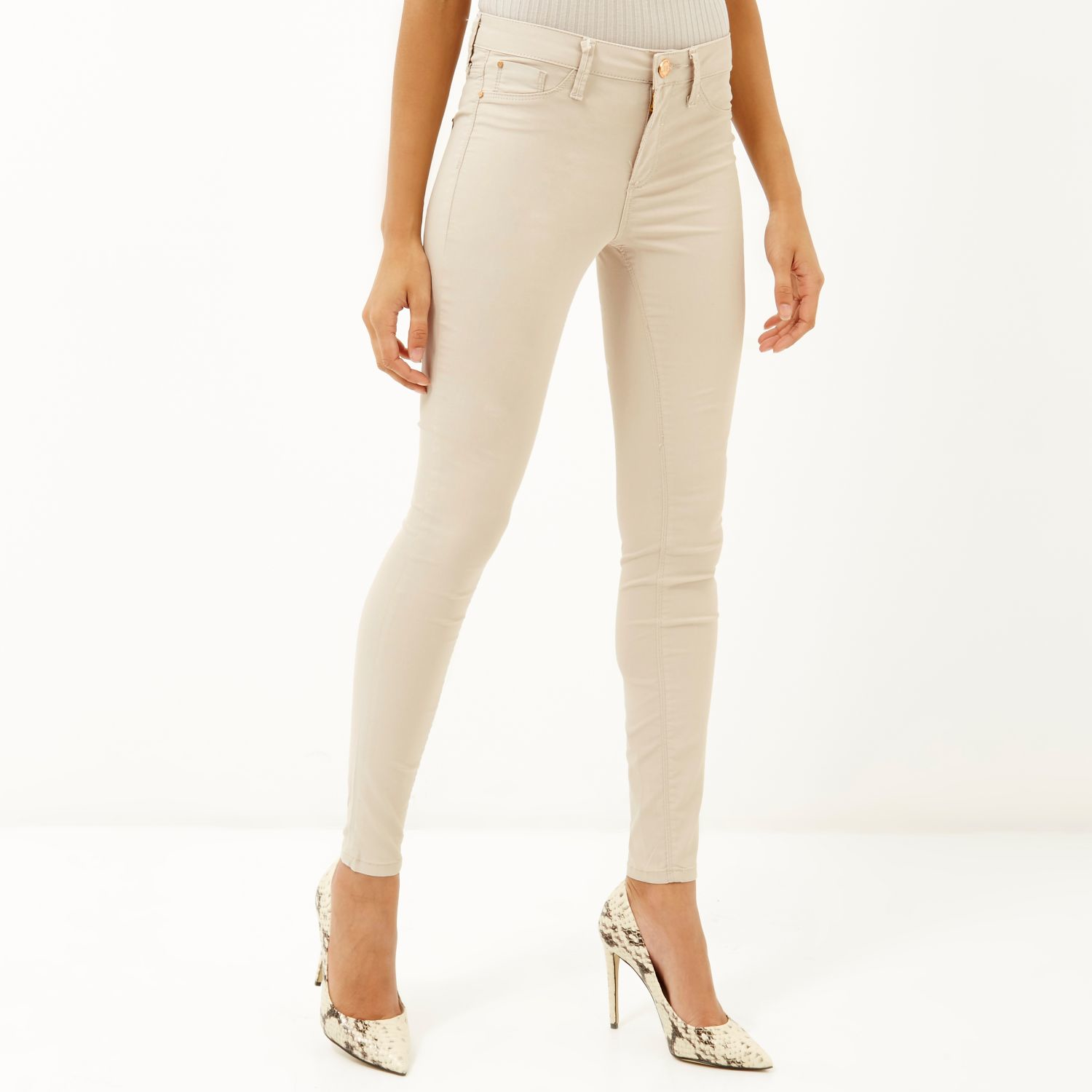 423905a355 River Island Cream Coated Molly Jeggings in Natural - Lyst