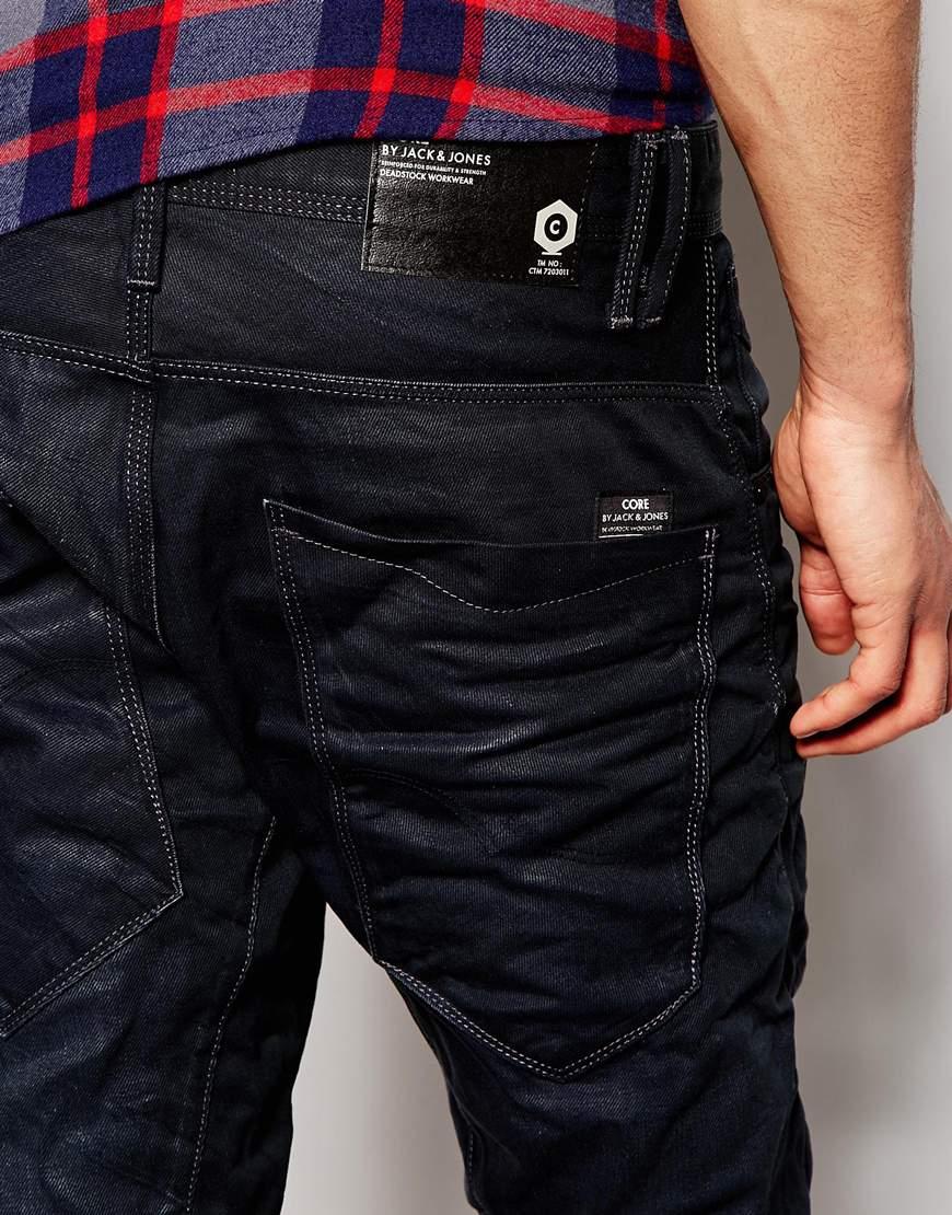 jack jones anti fit jeans with zip front pocket in blue for men. Black Bedroom Furniture Sets. Home Design Ideas