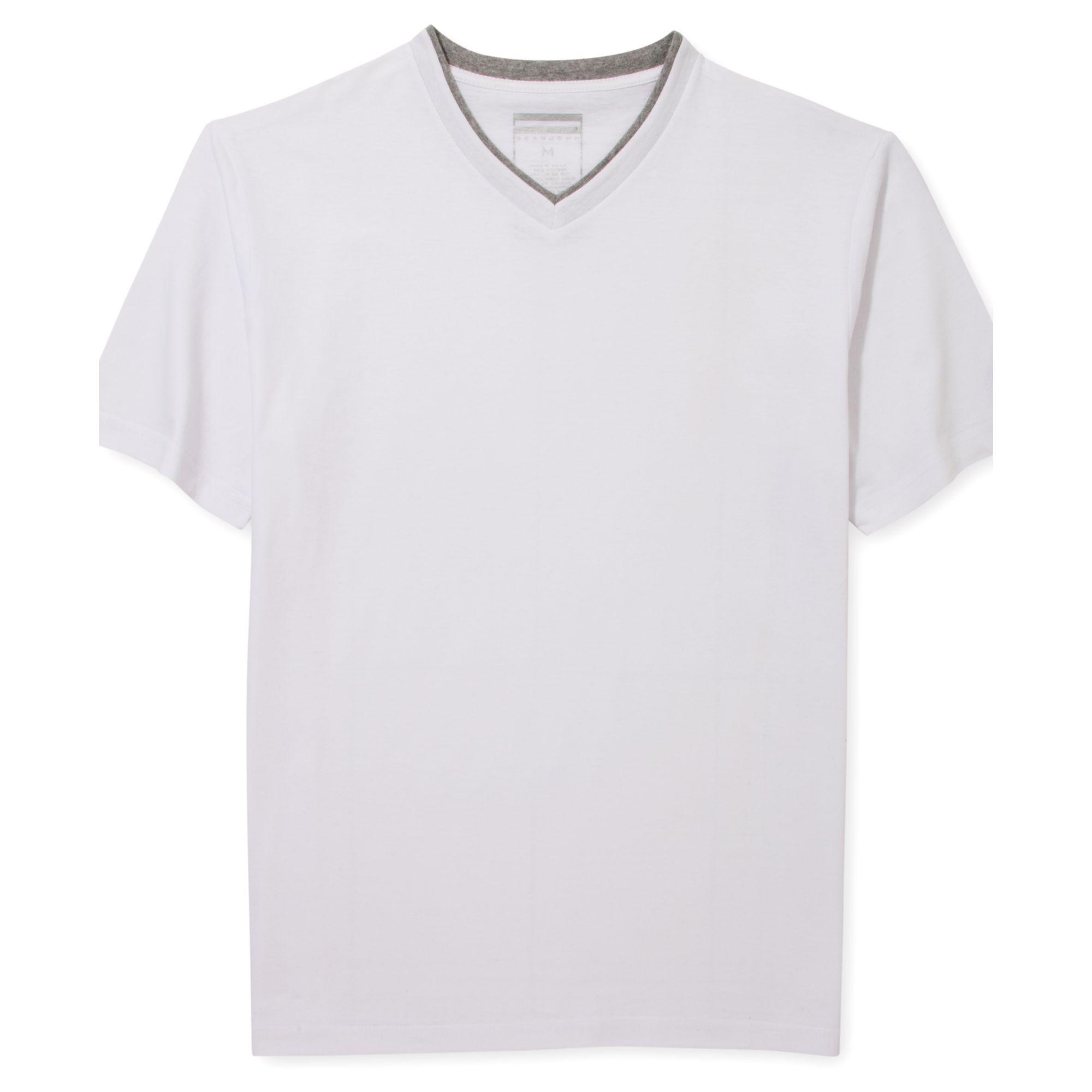 Sean john solid v neck t shirt in white for men bleach for Sean john t shirts for mens