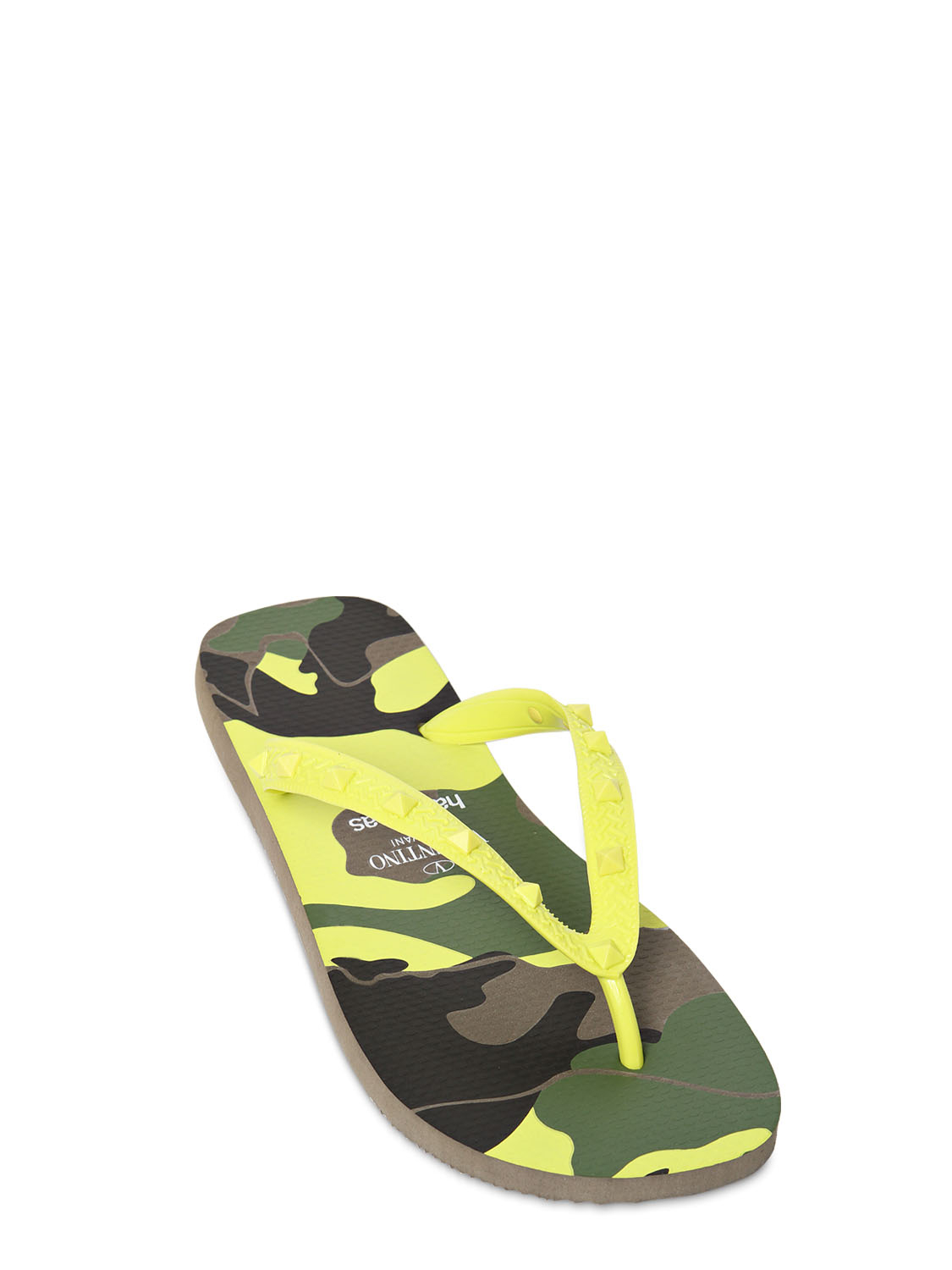 2b8937d0f Lyst - Valentino Studded Rubber Camou Print Flip Flops in Yellow