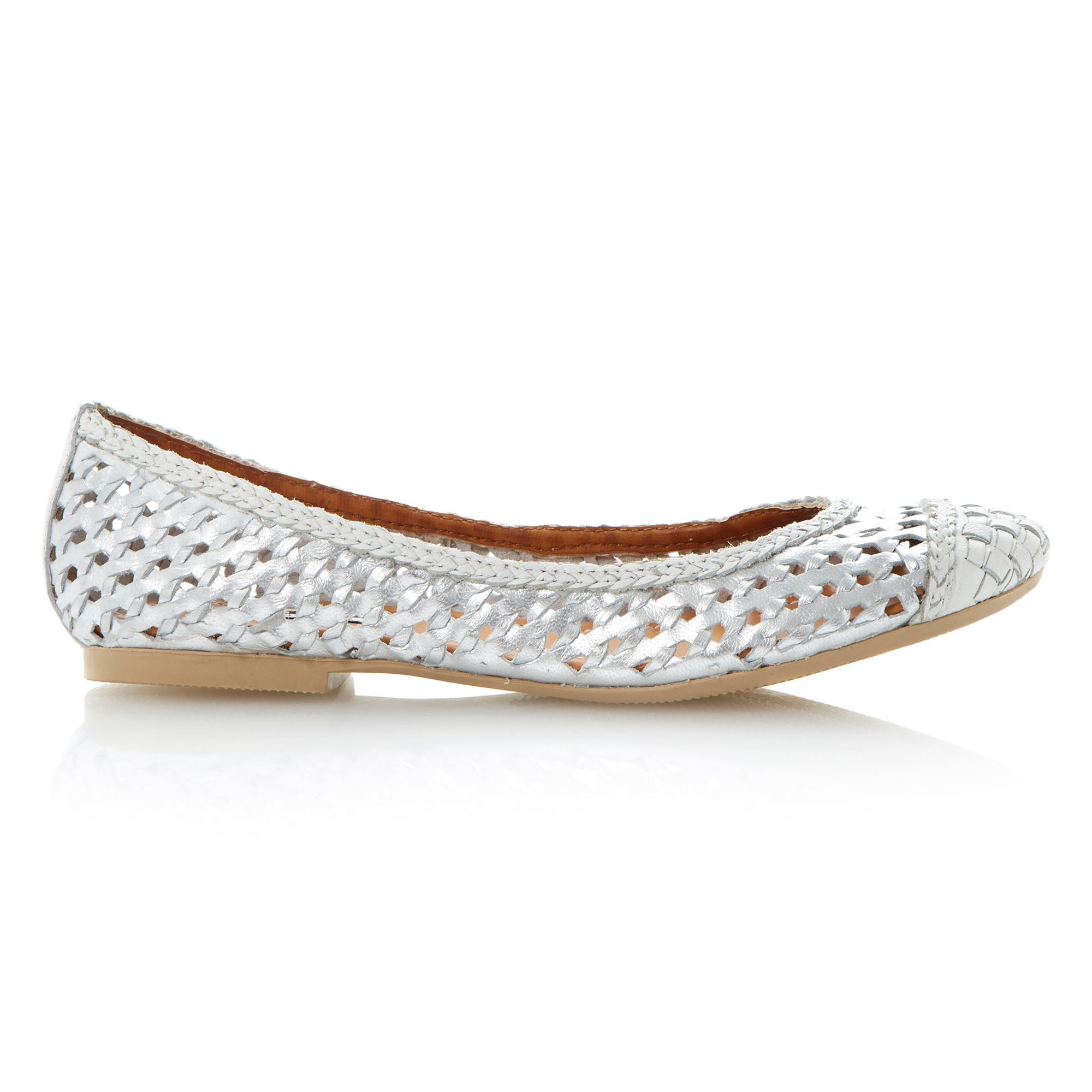 Dune Madalyn Leather Round Toe Flat Ballerina Shoes In Silver   Lyst
