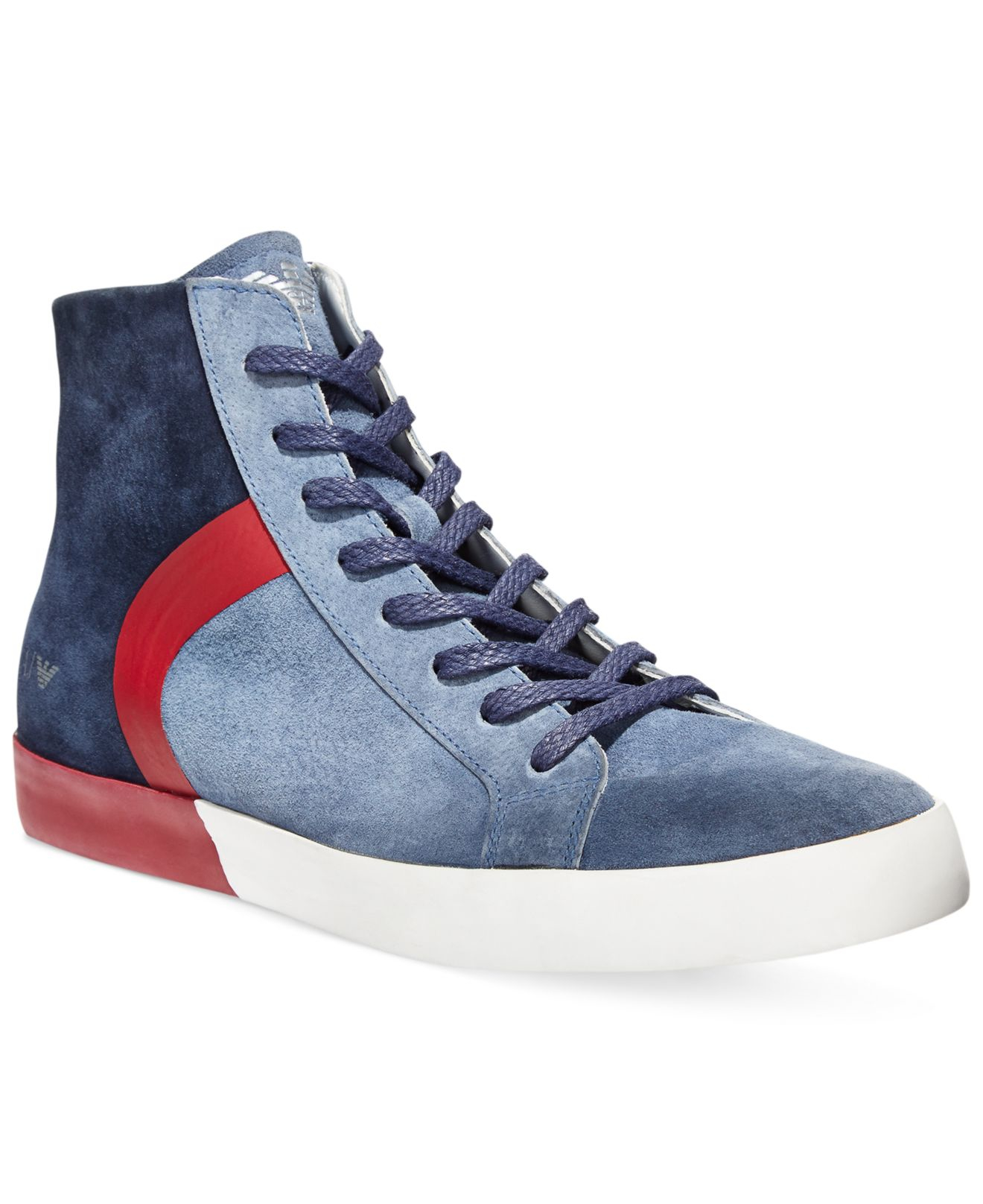 Lyst - Armani Jeans Dusty Suede Hi Top Sneakers in Blue for Men 4d613f4862e3