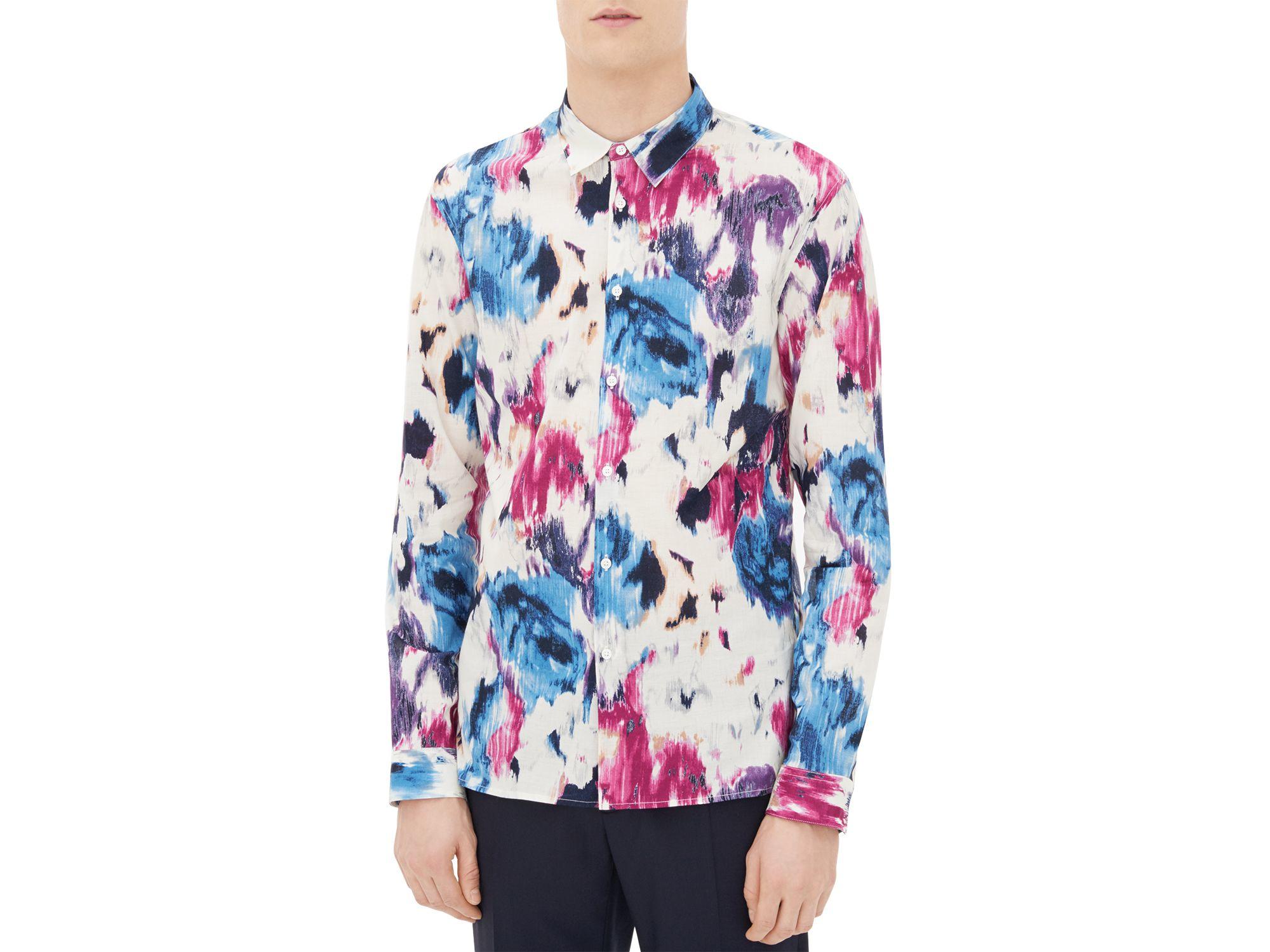 Sandro Flower Slim Fit Button Down Shirt for Men | Lyst
