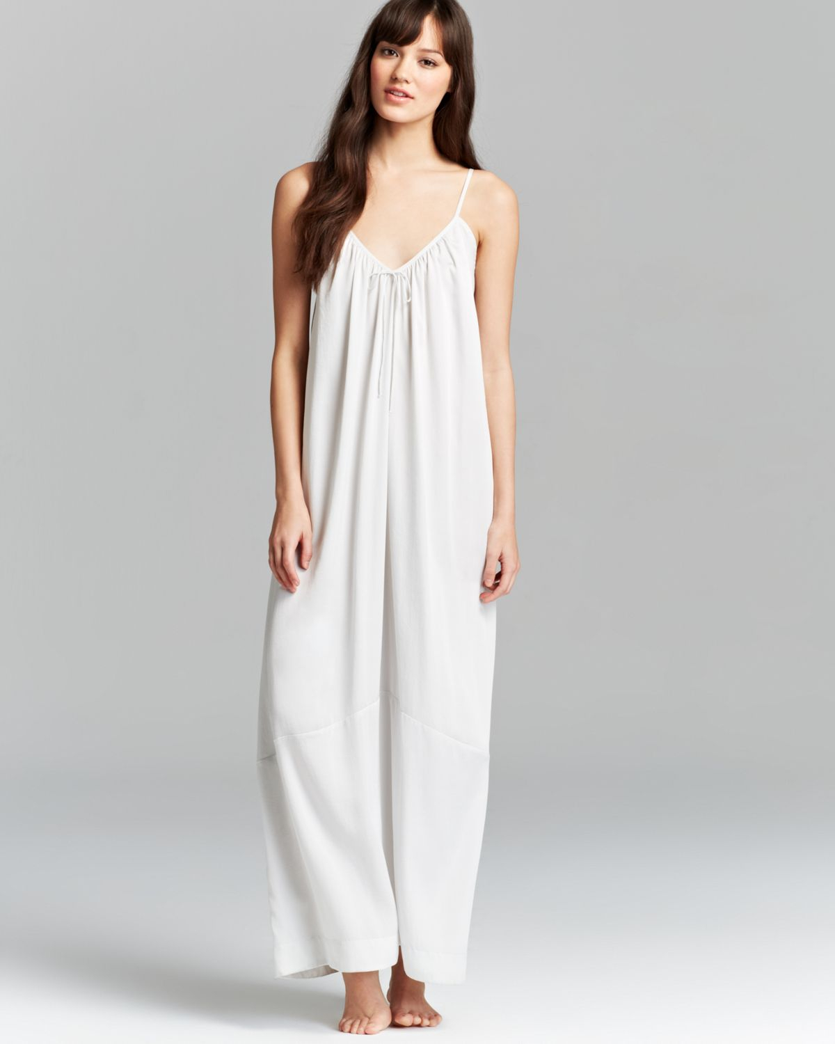 Lyst - Donna Karan Laundered Satin Long Nightgown in Gray 080894be3