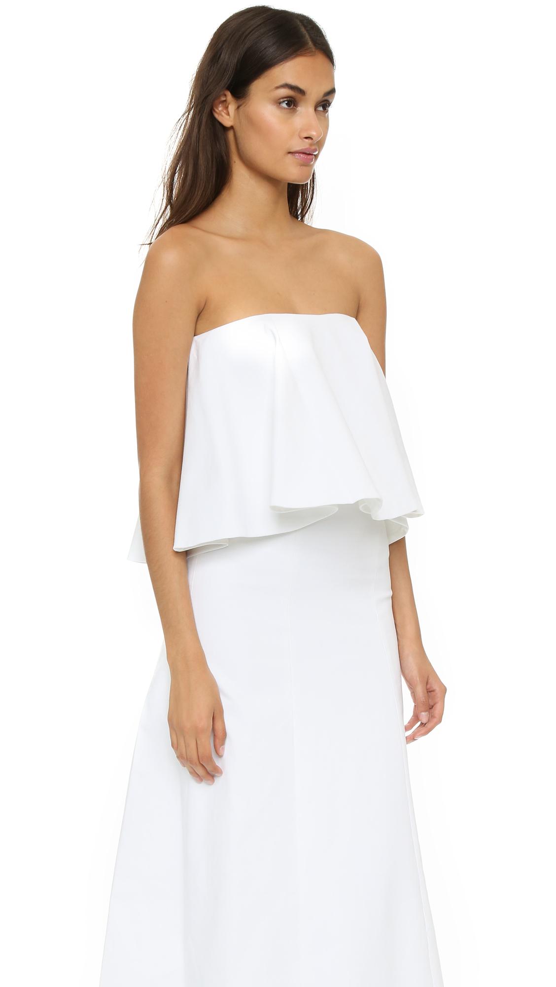 80688ae42eb Lyst - Alexis Ola Flounce Maxi Dress - White in White