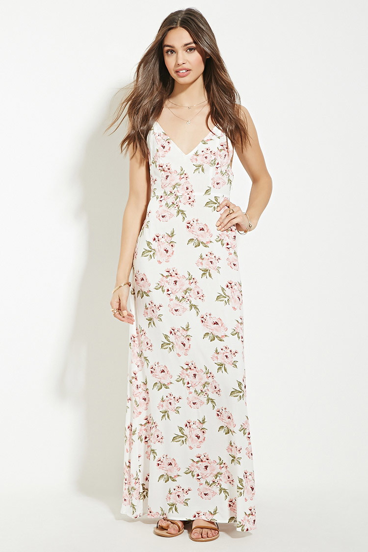 Forever 21 Lace-up Floral Maxi Dress | Lyst