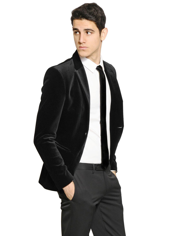 Emporio armani Velvet Jacket in Black for Men | Lyst