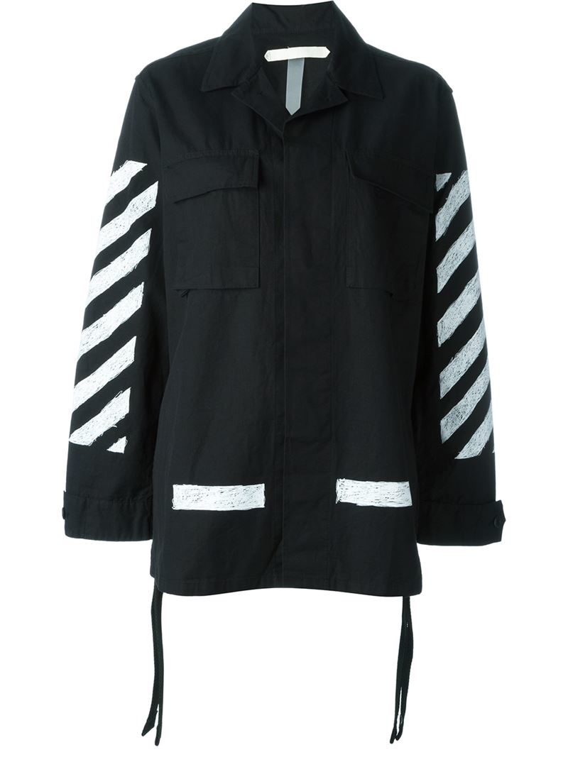 Lyst - Off-White c o Virgil Abloh Striped Cargo Jacket in Black c60f6ea813eb