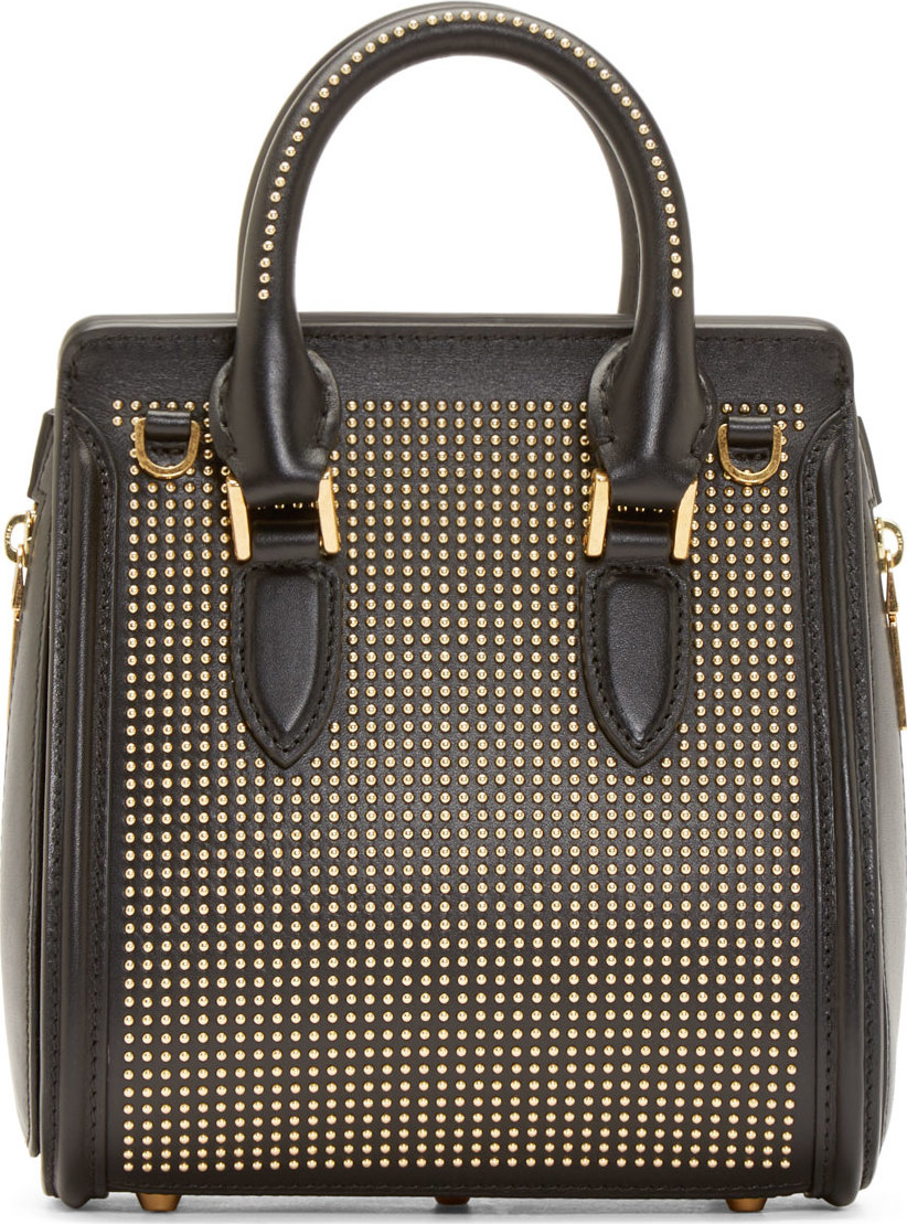 Lyst - Alexander mcqueen Black And Gold Studded Mini ...