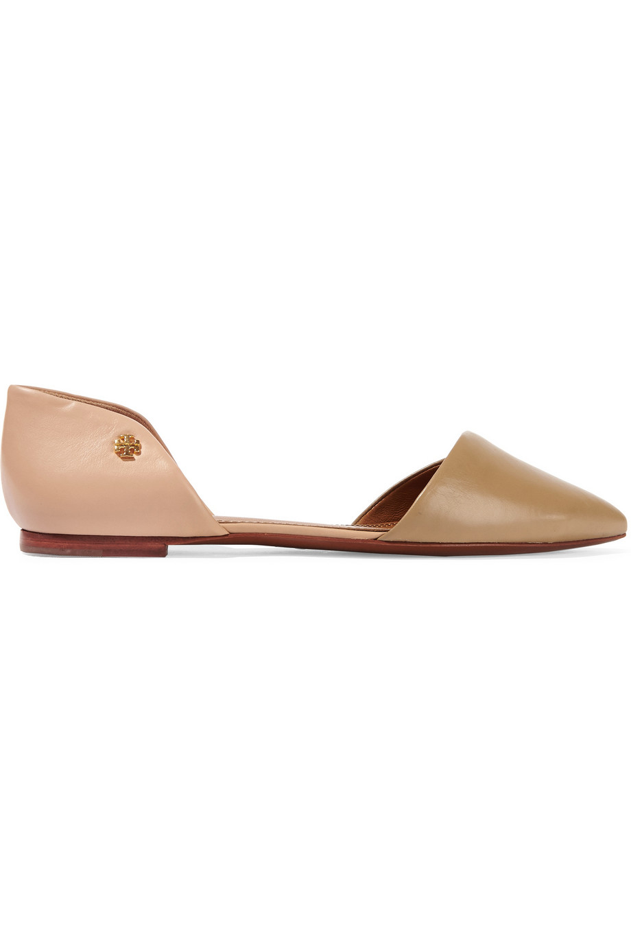 cf7e17b94a94 Tory Burch Viv Two-tone Leather Pointed-toe Flats in Natural - Lyst