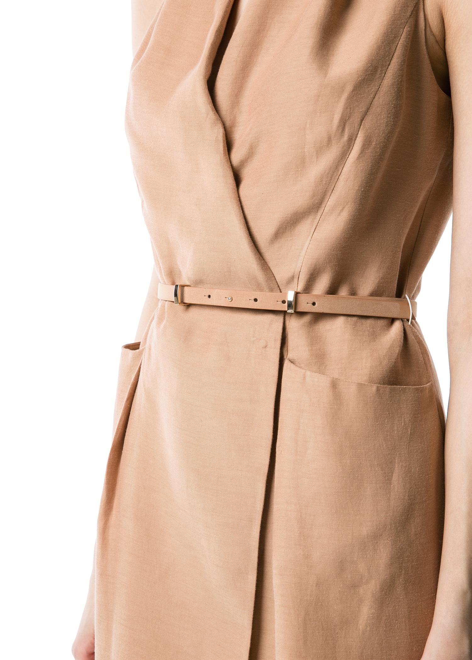 4e59f8bb38a Lyst - Mango Premium Linen Blend Wrap Dress in Natural