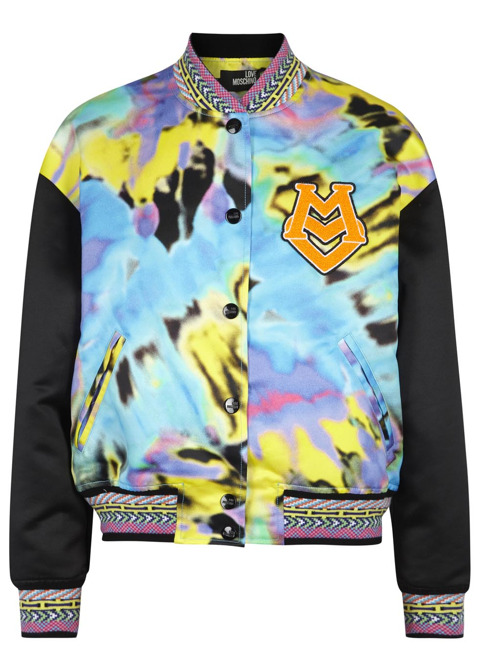 87a9086b0d Love Moschino Psychedelic Print Satin Twill Bomber Jacket in Yellow ...