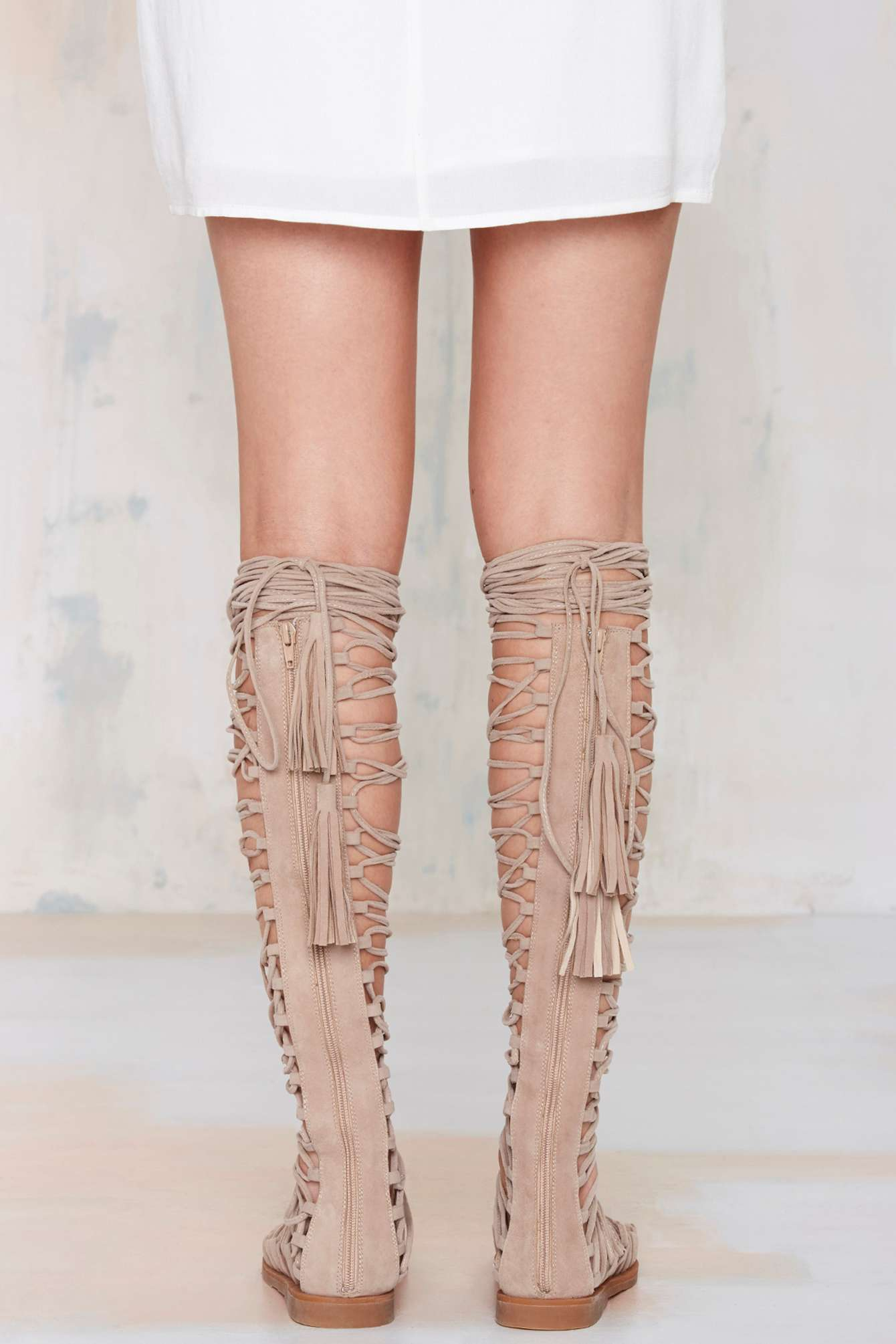 4e618b0585b Lyst - Nasty Gal Jeffrey Campbell Valeria Suede Lace-Up Sandal in ...